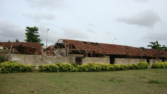 A collapsed school structure at Festac Grammar School