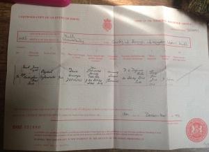 Elizabeth Oghenorvbo Dafinone's birth certificate