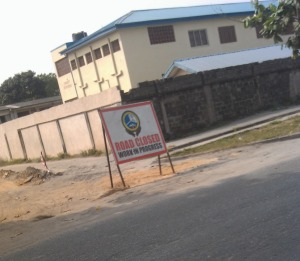 Road construction work in Festac 2014