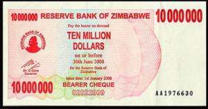 Zimbabwe 10 million dollar