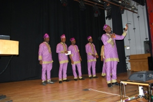 Adeola introducing the members of the executives of YORUBA UNION Stockholm, Sweden