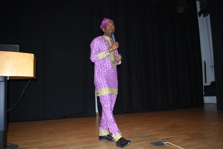 Adeola Aderounmu giving the welcome address
