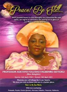 Professor Adetayo Foluso Fagbenro-Beyioku
